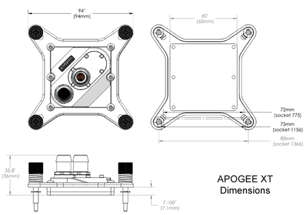 detailed dimensions Swiftech Apogee XT