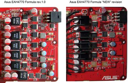 Asus EAH4770 Formula power supply systems of both revisions