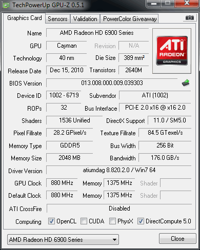 Radeon HD 6950 specs after flashing