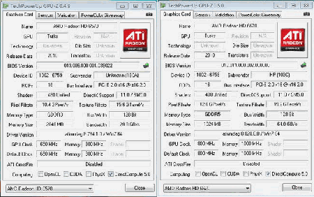 AMD Radeon HD 6570 and HD 6670 GPU-z screens