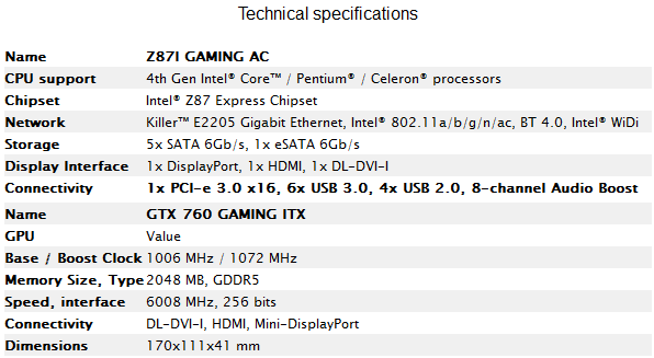 MSI Z87I GAMING and GTX760 GAMING specs