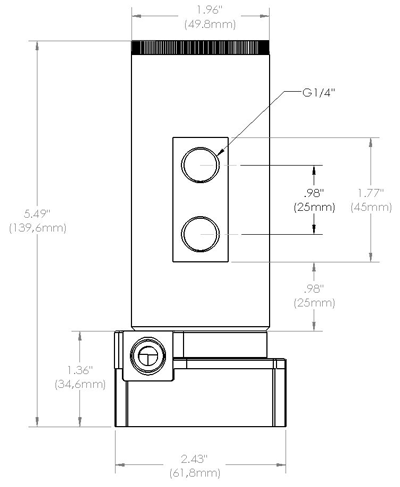 Detailed dimensions of MCP35X with reservoir