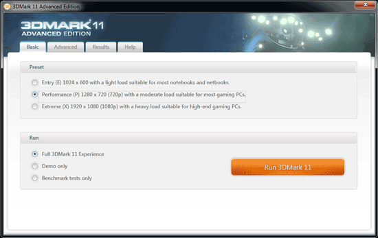 3DMark 11—benchmark select
