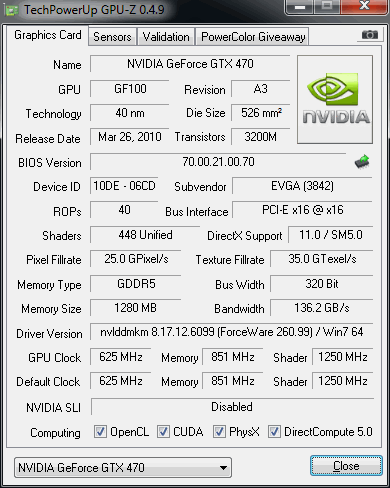 Tested graphic card